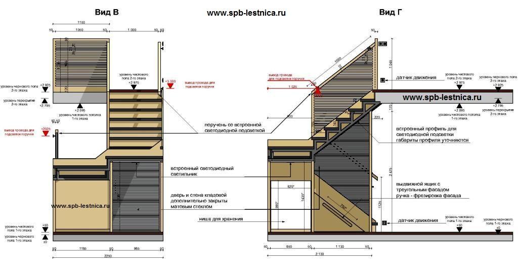 Чертеж лестницы в доме на второй этаж